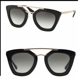 PRADA Black Gold Aviator Sunglasses SPR09Q 49 26